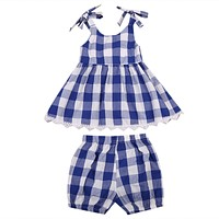 Summer Toddler Kids Baby Girls Checked Lace Dress Tops + Plaid Shorts Outfits 2pcs Clothes Set