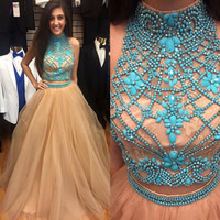 A-line Two Piece Prom Dress Champagne Tulle Formal Dress APD1636
