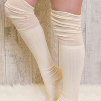 Dandy Over The Knee Socks in Ivory