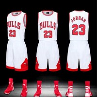 "NBA ""Bulls No. 23"" Jordan jersey vest embroidery basketball uniform set two-piece white"