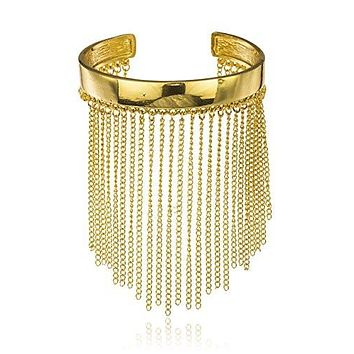 Goldtone Simple Bar with Multiple Tassels Arm Cuff