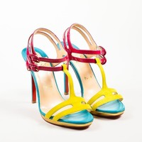 HCXX Christian Louboutin Pink and Blue Leather T-Strap   Double Tutti   Sandals