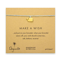make a wish whale bracelet on turquoise, gold dipped
