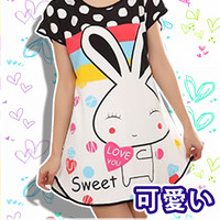 New Super Sweet Rabbit Korean Style Round-Neck Spring and Summer Home Clothes Free Size KK402