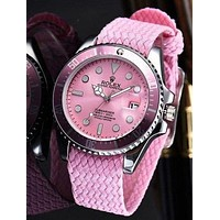 Rolex Popular Unisex Fashion Movement Quartz Watches Couple Wristwatch Pink I