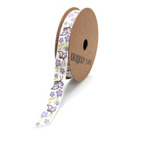 Butterfly Flowers Printed Cotton Fabric Ribbon, 5/8-inch, 10-yard, Lavender