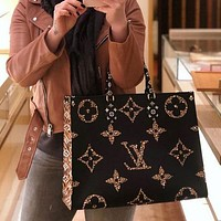 Louis Vuitton LV classic double-sided color tote bag letter printing fashion ladies handbag shoulder messenger bag
