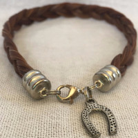 Chunky Horse Hair Bracelet With Horse Shoe Charm