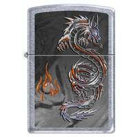 Zippo 3538 Classic Dragon and Flames Street Chrome Finish Windproof Pocket Lighter