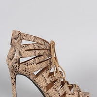 Python Strappy Lace Up Peep Toe Stiletto Heel