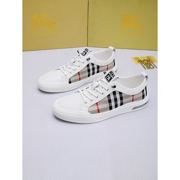 BURBERRY Men Fashion Boots fashionable Casual leather Breathable Sneakers Running Shoes07290CC