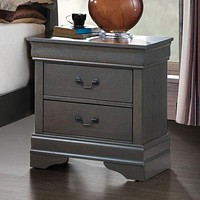Louis Philippe Iii Contemporary Style Night Stand,Gray By Casagear Home