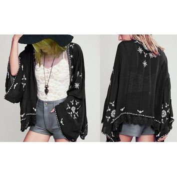 Boho Kimono Black With White Embroidery Or White With Red Embroidery Or White With Black Embroidery You Choose Lace Hem For Free Spirited People One Size