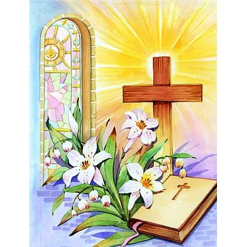 Easter Cross and Bible in Stain Glass Window Flag Canvas House Size APH5433CHF