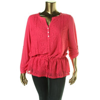 Style & Co. Womens Lace Overlay Adjustable Sleeves Pullover Top