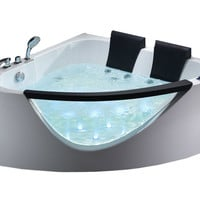 EAGO AM199HO  5' Rounded Clear Modern Double Seat Corner Whirlpool Bath Tub w Fixtures, Inline Heater & Ozone Disinfector