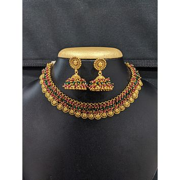 Flower design Antique Gold plated Choker Necklace and Jhumka Earrings set