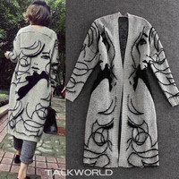 Autumn New  Female Long Section Bat Sleeve Knit Cardigan Sweater Coat Thick Loose Printing ,one Size = 1747135940