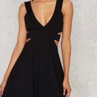Black Deep V Neck Cut-out Side Flare Dress