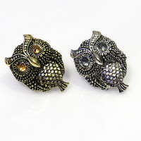 """2g 0g 00g 7/16"""" 1/2"""" 9/16"""" 5/8"""" / Gold and Silver Owl / Plugs Gauges Earrings / Stretched Gauged Ears / Stainless Steel Tunnels"""