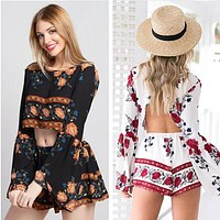 Fashion  Retro Multicolor Flower Print Pagoda Sleeve Shirt Shorts Set Two-Piece