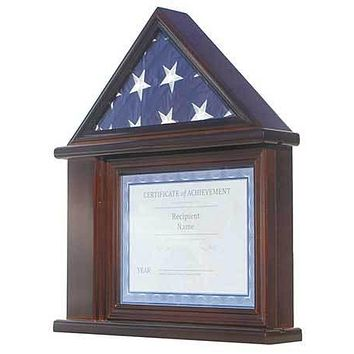 Flag Display Case Certificate & Document Holder Frame, Military Shadow Box