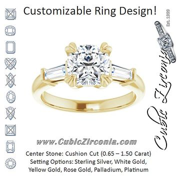 Cubic Zirconia Engagement Ring- The Betyhelena (Customizable 3-stone Cushion Cut Design with Tapered Baguettes)