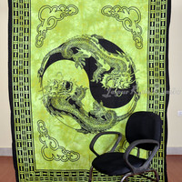Thai Dragon Print Green Tapestry Hippy Wall Hanging Indian Throw Bedspread Queen Bed Decor Ethnic Sheet Decorative Art