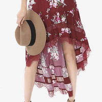 Berry Floral Hi-lo Hem Skirt from EXPRESS