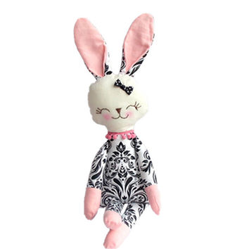 Stuffed bunny pink black and white floral Sunny bunny rabbit plush rabbit bunny doll stuffed toy holiday gift for children