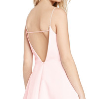 Pink Strappy Backless Mini Dress with A-line Skirt