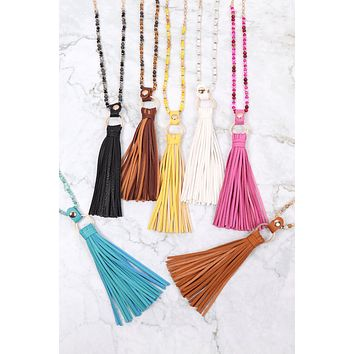 HDN3121 - LEATHER TASSEL NECKLACE