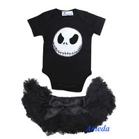 Newborn Baby Halloween Black Pettiskirt Nightmare Before Christmas Jack Romper