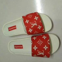 Supreme x LV Casual Fashion Women Floral Print Sandal Slipper Shoes