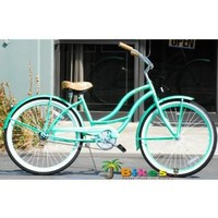 "J Bikes Chloe 26"" Women`s 1-speed Beach Cruiser Bicycle Mint Green Bike: Sports & Outdoors"