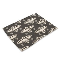 Miracille 2/4/6pieces Set Sugar Skull Art Home Decorative Table Place Mats Flower Skulls Pattern Placemats For Kitchen Table - 4, 2Pieces
