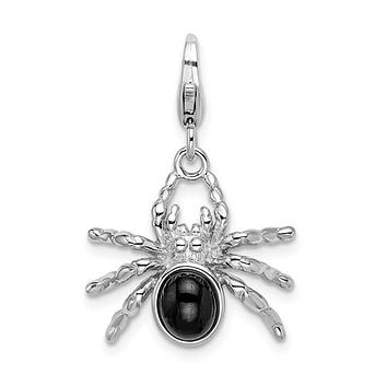 Sterling Silver 3-D Black Enameled Spider With Lobster Clasp Charm