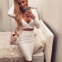 Cross Deep V-Neck Bodycon Mini Dress
