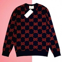 GUCCI Fashionable Women Men Casual Print Long Sleeve Round Collar Knit Sweater Top Sweatshirt