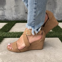 Lolita Ankle Wedges in Sand