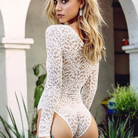 Strappy Lace Long Sleeve One Piece Swimsuit Swimwear