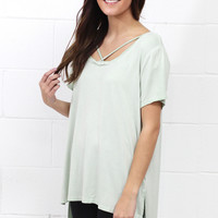 Cross It Mineral Wash Strappy Tee {Sage} EXTENDED SIZES