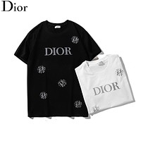 Dior Summer Popular Women Men Casual Diamond Letter T-Shirt Top