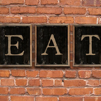 "EAT- kitchen signs - Set of 3 wooden plaques framed in reclaimed oak wood. Handmade.  Each piece is 15""x13""x2""."