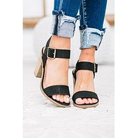 Dance This Way Open Toe Block Heel | Black