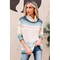 Heart Set On You Multi-Striped Cowl Neck Sweater (Teal)