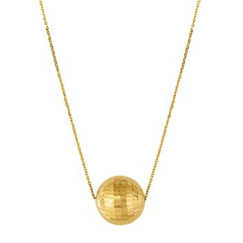 14k Yellow Gold Multi Faceted Ball Pendant Chain Necklace, 18""