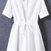 Short Sleeve Pointed Flat Collar Drawstring Buttons A-Line Pleated Mini Dress