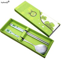 Keythemelife New Stainless Steel Chopsticks Spoon Suit Gift Box For Home Restaurant Hot Sale High Quality D55