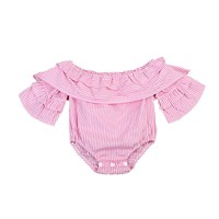 born Infant Baby Girl Clothes Pink Striped Off Shoulder Romper Jumpsuit Outfit Playsuit Clothes Baby Girls